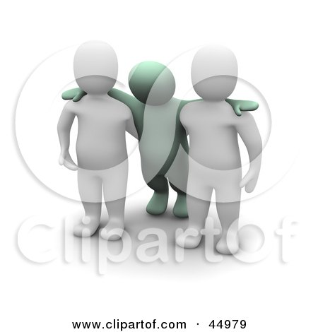 Royalty-free (RF) Clipart Illustration of Two 3d Blanco Man Characters Assisting An Intoxicated Green Guy by Jiri Moucka
