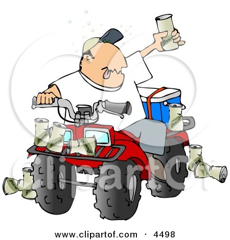 Drunk Man Sitting On a Four Wheeled All-Terrain Vehicle (ATV) Clipart by Dennis Cox