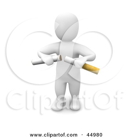 Royalty-free (RF) Clipart Illustration of a 3d Blanco Man Character Breaking A Cigarette In Half by Jiri Moucka