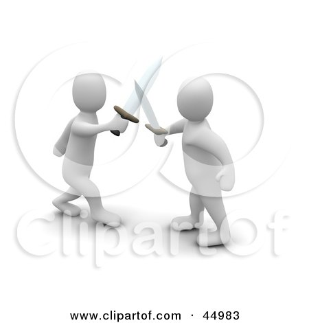 Royalty-free (RF) Clipart Illustration of Two 3d Blanco Man Characters Fencing With Swords by Jiri Moucka