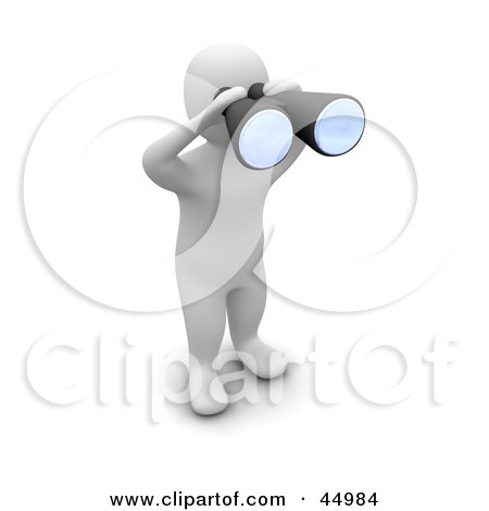 Royalty-free (RF) Clipart Illustration of a 3d Blanco Man Character Spying Through Binoculars by Jiri Moucka