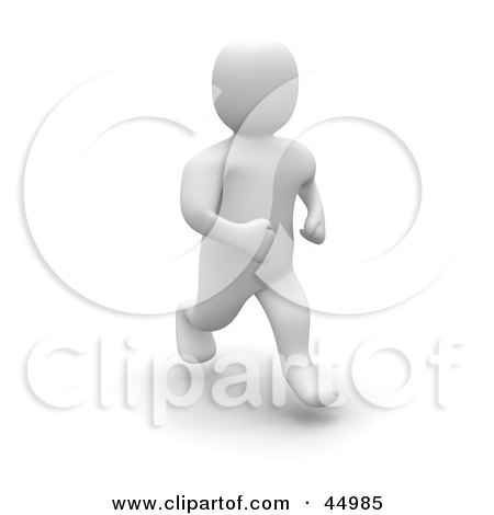 Royalty-free (RF) Clipart Illustration of a 3d Blanco Man Character Jogging Forward by Jiri Moucka