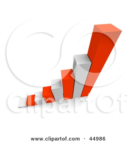 Royalty-free (RF) Clipart Illustration of a Bar Graph Of White And Red 3d Columns by Jiri Moucka