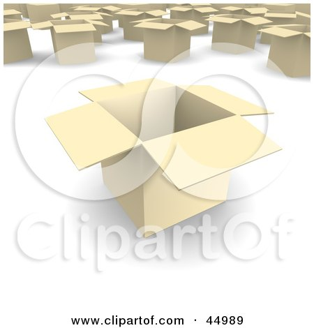 Royalty-free (RF) Clipart Illustration of Light 3d Open Cardboard Moving Boxes by Jiri Moucka