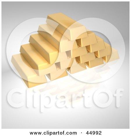 Royalty-free (RF) Clipart Illustration of a Pyramid Of Stacked Golden Bricks by Jiri Moucka