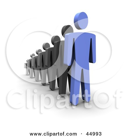 Royalty-free (RF) Clipart Illustration of a 3d Blue Guy Standing In Front Of A Line by Jiri Moucka
