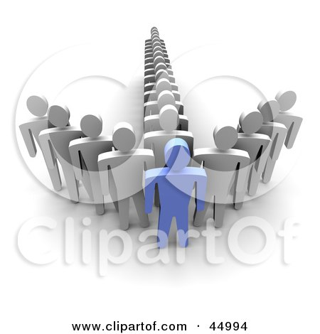 Royalty-free (RF) Clipart Illustration of Lines Of White Guys Standing Behind A Blue Guy And Forming An Arrow  by Jiri Moucka