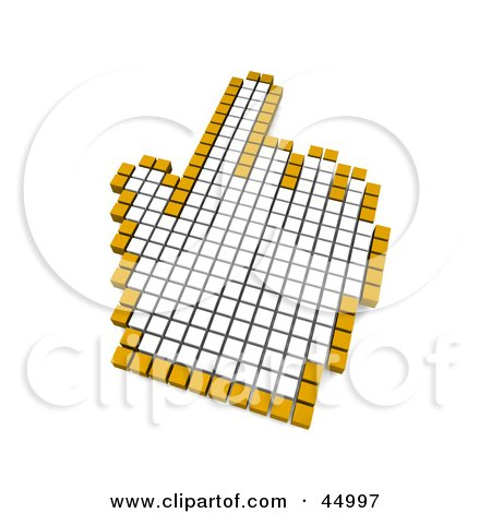 Royalty-free (RF) Clipart Illustration of a White And Orange Pixelated Pointing Hand Computer Mouse Cursor by Jiri Moucka