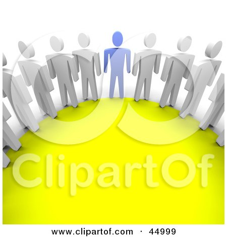 Royalty-free (RF) Clipart Illustration of a Blue Guy Standing In A Circle With White Guys by Jiri Moucka