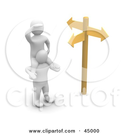 Royalty-free (RF) Clipart Illustration of a 3d Blanco Man Character Up On The Shoulders Of A Friend At A Crossroads by Jiri Moucka