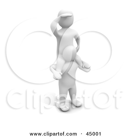 Royalty-free (RF) Clipart Illustration of a 3d Blanco Man Character On The Shoulders Of Another, Keeping A Lookout by Jiri Moucka