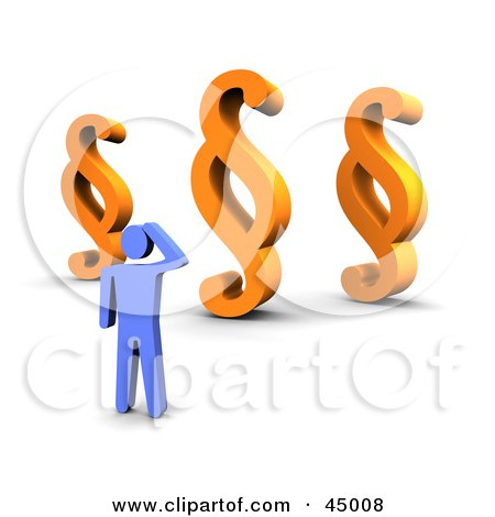 Royalty-free (RF) Clipart Illustration of a Confused Blue Guy Standing Before Three Paragraph Symbols by Jiri Moucka