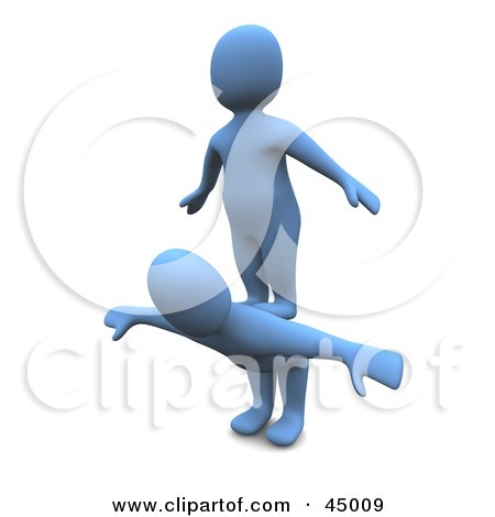 Royalty-free (RF) Clipart Illustration of a Selfish 3d Azul Man Character Standing On The Back Of Another by Jiri Moucka