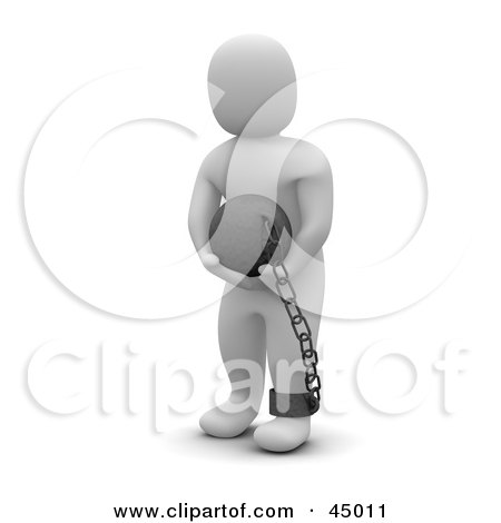 Royalty-free (RF) Clipart Illustration of a 3d Blanco Man Character Carrying A Ball On A Chain by Jiri Moucka