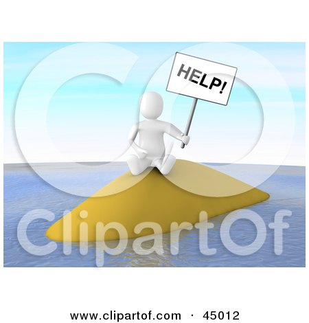 Royalty-free (RF) Clipart Illustration of a 3d Blanco Man Castaway Character Holding Up A Help Sign On A Deserted Island by Jiri Moucka
