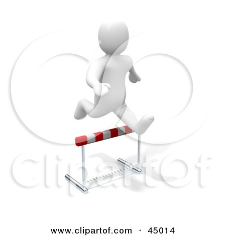 Royalty-free (RF) Clipart Illustration of a 3d Blanco Man Character Leaping Over A Hurdle by Jiri Moucka