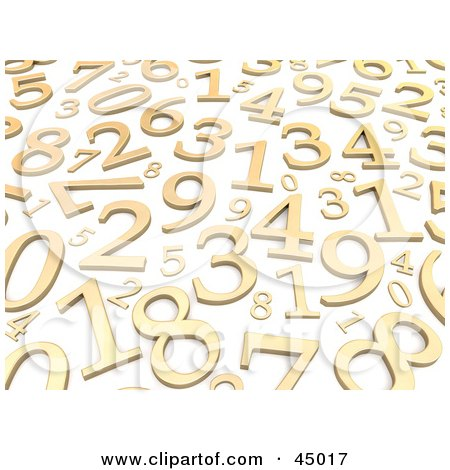 Royalty-free (RF) Clipart Illustration of a Background Of Random Golden Numbers On White by Jiri Moucka
