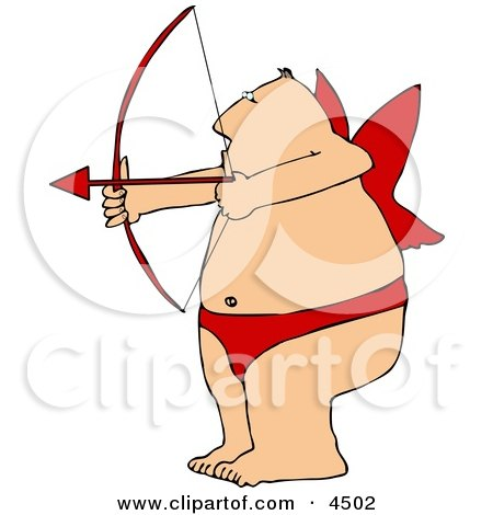 Overweight Man Wearing Valentine Cupid Costume While Aiming a Bow an Arrow Posters, Art Prints