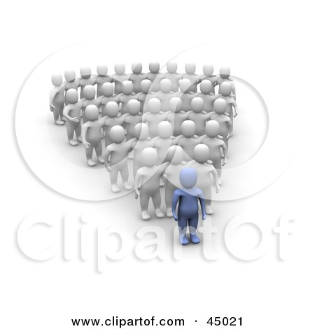 Royalty-free (RF) Clipart Illustration of a 3d Azul Man Character Leading Rows Of Blanco Followers by Jiri Moucka
