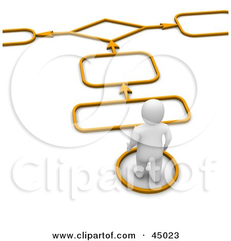 Royalty-free (RF) Clipart Illustration of a 3d Blanco Man Character Following Arrows And Spaces On An Orange Path by Jiri Moucka