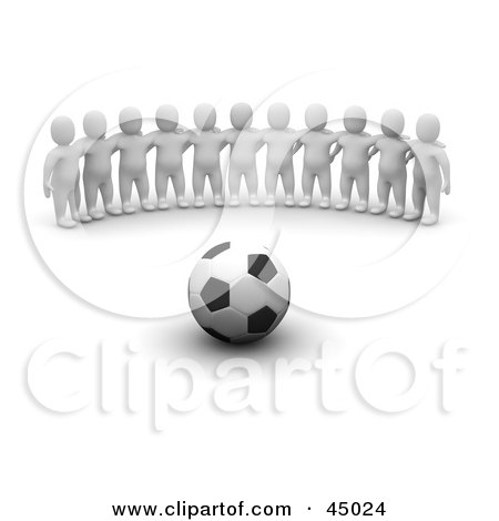 Royalty-free (RF) Clipart Illustration of a Team Of 3d Blanco Man Characters Facing A Soccer Ball by Jiri Moucka