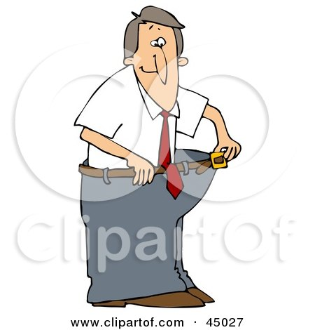 Clipart Illustration of a Skinny Man Wearing His Fat Pants, Holding The Belt Away From His Waist by djart