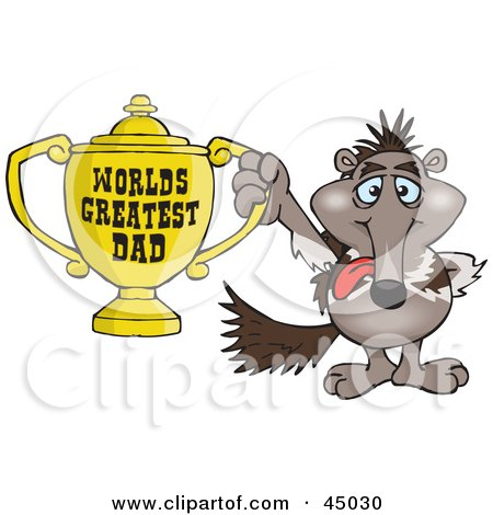 Royalty-free (RF) Clipart Illustration of an Anteater Character Holding A Golden Worlds Greatest Dad Trophy by Dennis Holmes Designs