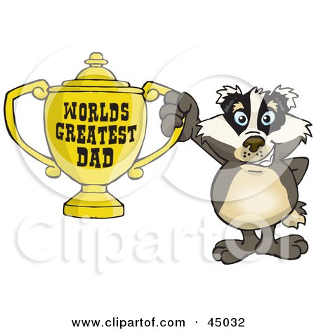 Royalty-free (RF) Clipart Illustration of a Badger Character Holding A Golden Worlds Greatest Dad Trophy by Dennis Holmes Designs