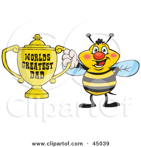 Royalty-free (RF) Clipart Illustration of a Honey Bee Character Holding A Golden Worlds Greatest Dad Trophy by Dennis Holmes Designs