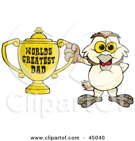 Royalty-free (RF) Clipart Illustration of a Barn Owl Character Holding A Golden Worlds Greatest Dad Trophy by Dennis Holmes Designs