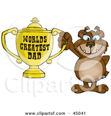 Royalty-free (RF) Clipart Illustration of a Bear Character Holding A Golden Worlds Greatest Dad Trophy by Dennis Holmes Designs