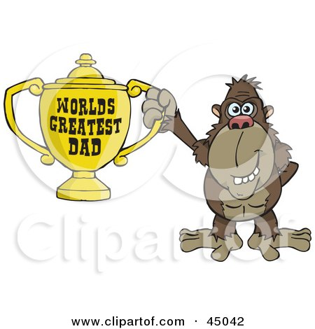 Royalty-free (RF) Clipart Illustration of a Brown Ape Character Holding A Golden Worlds Greatest Dad Trophy by Dennis Holmes Designs