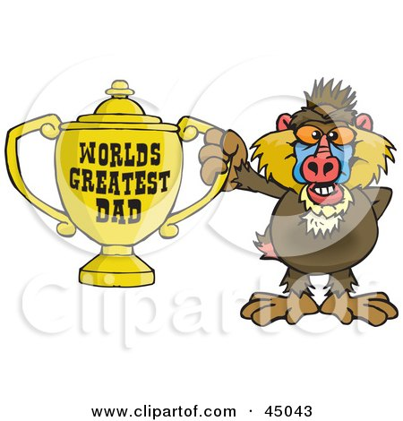 Royalty-free (RF) Clipart Illustration of a Baboon Character Holding A Golden Worlds Greatest Dad Trophy by Dennis Holmes Designs