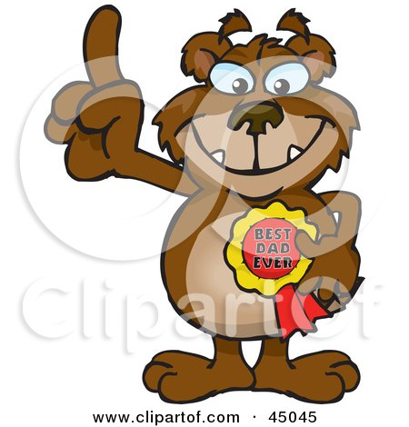 Royalty-free (RF) Clipart Illustration of a Bear Character Wearing A Best Dad Ever Ribbon by Dennis Holmes Designs