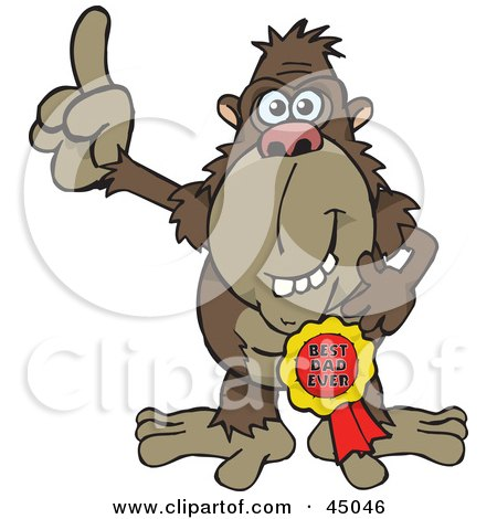 Royalty-free (RF) Clipart Illustration of an Ape Character Wearing A Best Dad Ever Ribbon by Dennis Holmes Designs