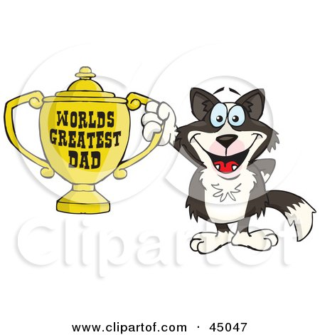 Royalty-free (RF) Clipart Illustration of a Border Collie Dog Character Holding A Golden Worlds Greatest Dad Trophy by Dennis Holmes Designs