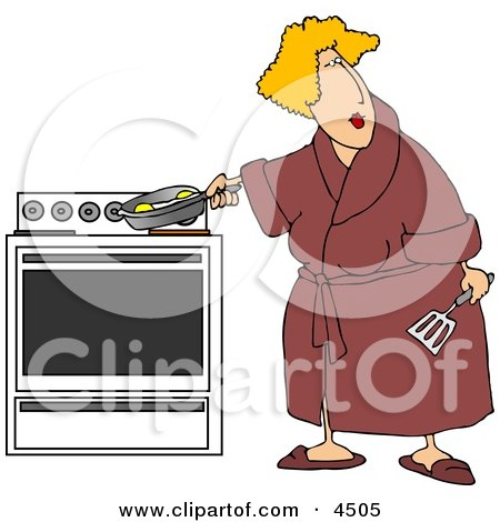 Overweight Woman Cooking Eggs In a Skillet On a Stove Posters, Art Prints