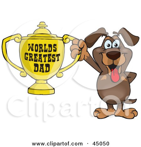 Royalty-free (RF) Clipart Illustration of a Dachshund Dog Character Holding A Golden Worlds Greatest Dad Trophy by Dennis Holmes Designs
