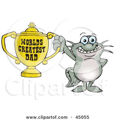 Royalty-free (RF) Clipart Illustration of a Catfish Character Holding A Golden Worlds Greatest Dad Trophy by Dennis Holmes Designs