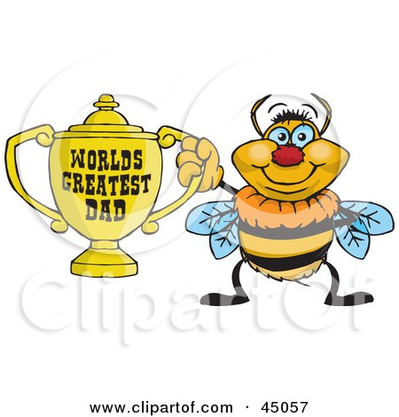 Royalty-free (RF) Clipart Illustration of a Bumble Bee Character Holding A Golden Worlds Greatest Dad Trophy by Dennis Holmes Designs