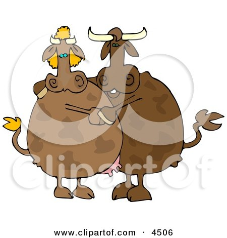 Male and Female Cows Dancing Together Clipart by djart
