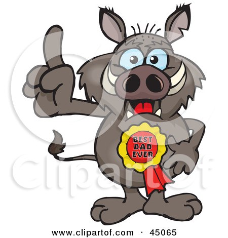 Royalty-free (RF) Clipart Illustration of a Boar Character Wearing A Best Dad Ever Ribbon by Dennis Holmes Designs