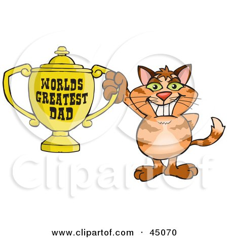 Royalty-free (RF) Clipart Illustration of a Ginger Cat Character Holding A Golden Worlds Greatest Dad Trophy by Dennis Holmes Designs