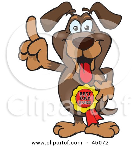 Royalty-free (RF) Clipart Illustration of a Daschund Character Wearing A Best Dad Ever Ribbon by Dennis Holmes Designs