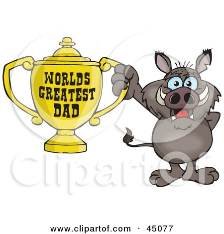 Royalty-free (RF) Clipart Illustration of a Boar Character Holding A Golden Worlds Greatest Dad Trophy by Dennis Holmes Designs