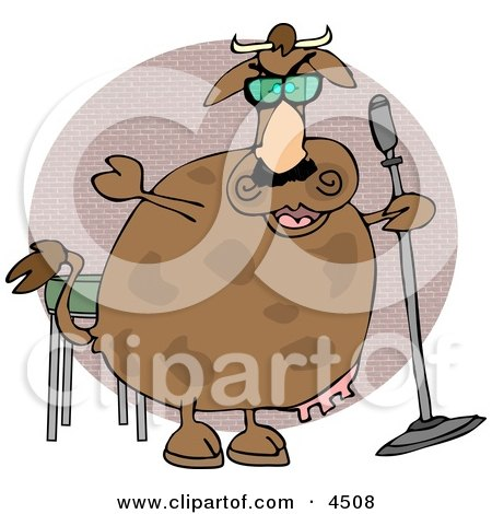Cow Doing Stand-up Comedy Clipart by djart