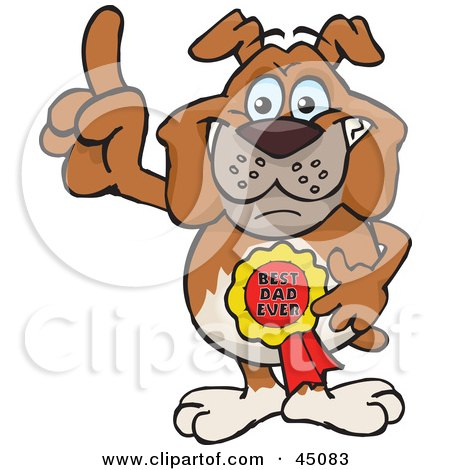 Royalty-free (RF) Clipart Illustration of a Bulldog Character Wearing A Best Dad Ever Ribbon by Dennis Holmes Designs