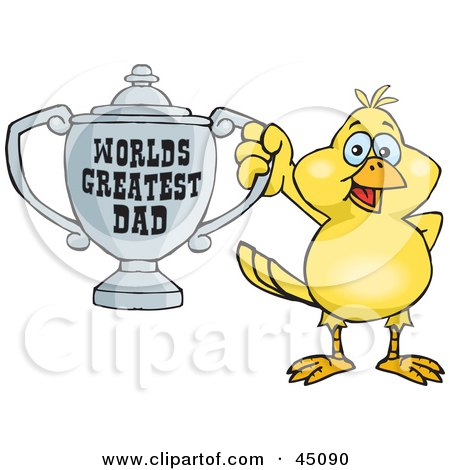 Royalty-free (RF) Clipart Illustration of a Canary Bird Character Holding A Golden Worlds Greatest Dad Trophy by Dennis Holmes Designs