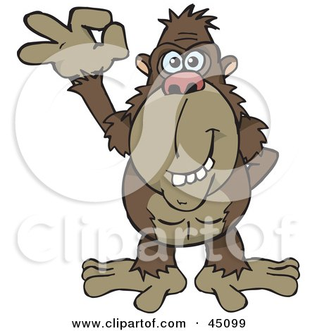 Royalty-free (RF) Clipart Illustration of a Happy Ape Gesturing The A Ok Sign by Dennis Holmes Designs