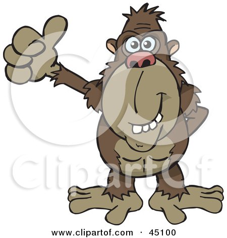 Royalty-free (RF) Clipart Illustration of a Happy Ape Gesuring With A Thumbs Up by Dennis Holmes Designs